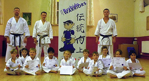 Backwell Karate Bushido Warriors after their certificate presentations